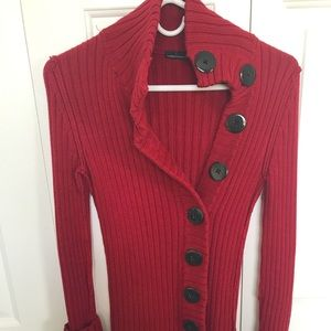 Red big button ribbed sweater